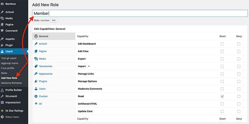 plugin area riservata WordPress